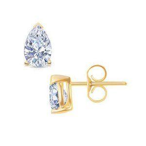 2 Carat Pear Cut Diamond Stud Earring Yellow Gold